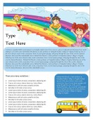 School Templates-Rainbow Themed School Bus Newsletter